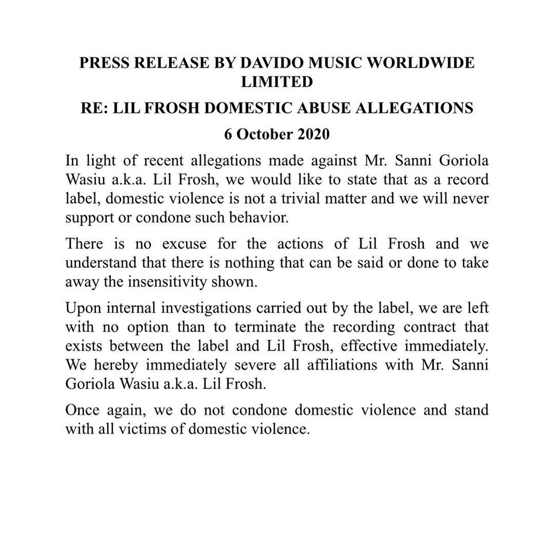 Davido Terminate Lil frosh Contract The Untame News Lil Frosh